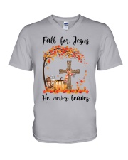 Fall For Jesus He Never Leaves V-Neck T-Shirt thumbnail