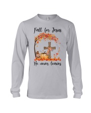 Fall For Jesus He Never Leaves Long Sleeve Tee thumbnail