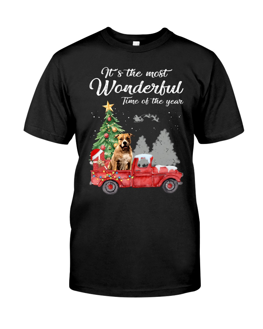 Wonderful Christmas with Truck - Pit Bull Classic T-Shirt