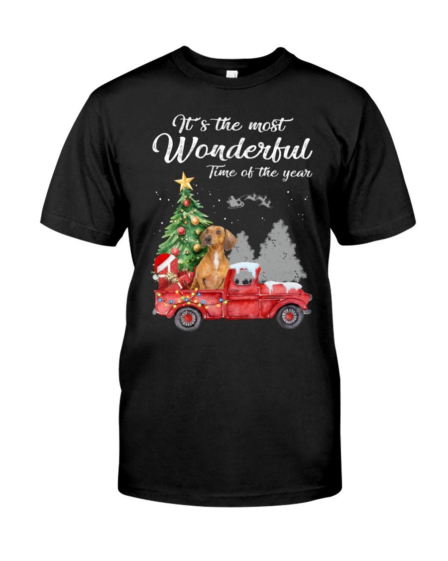 Wonderful Christmas with Truck - Dachshund Classic T-Shirt