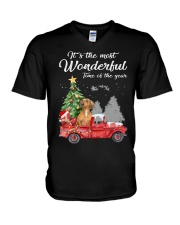 Wonderful Christmas with Truck - Dachshund V-Neck T-Shirt thumbnail