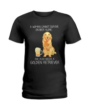 Beer and Golden Retriever Ladies T-Shirt thumbnail