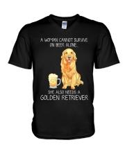 Beer and Golden Retriever V-Neck T-Shirt thumbnail