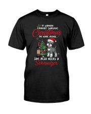 Christmas - Wine and Schnauzer Classic T-Shirt front