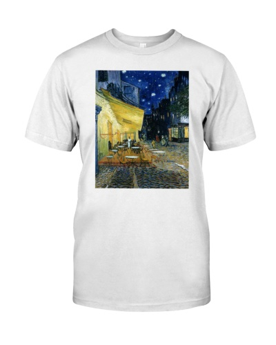 cafe terrace at night city shirt