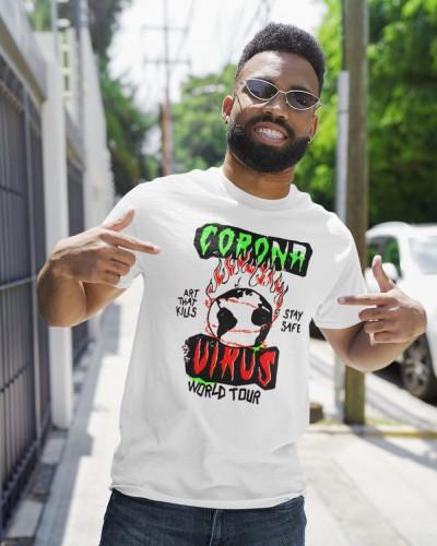 corona virus art that kills stay safe world tour shirt