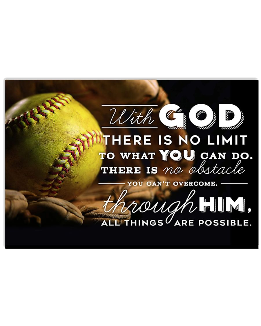 SOFTBALL - WITH GOD POSTER 17x11 Poster