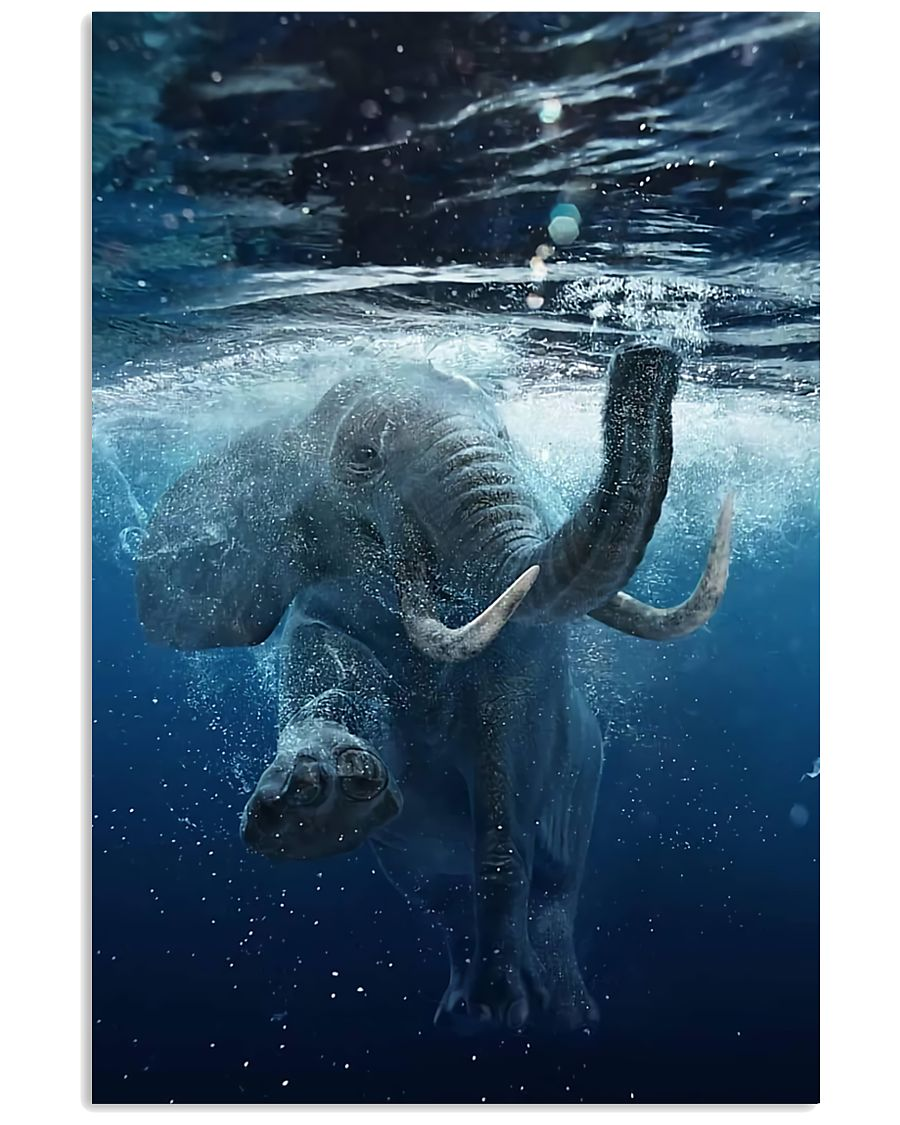 Elephant - Elephant swim in sea Poster - TL 16x24 Poster