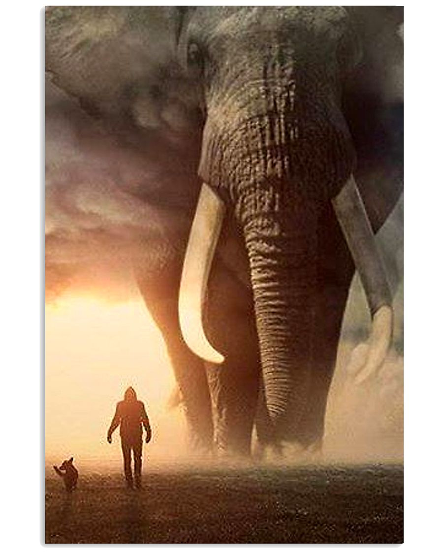 elephant sunset poster 11x17 Poster