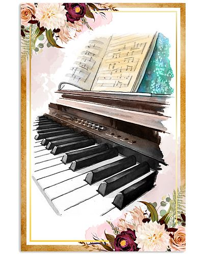 Piano Flower Watercolor Poster