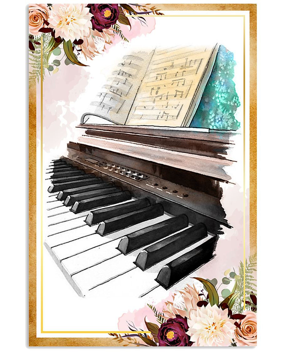 Piano Flower Watercolor Poster 11x17 Poster