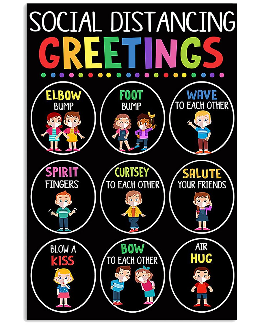 teacher - social distancing greetings poster - SR 11x17 Poster