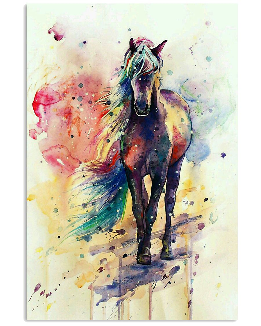 HORSE PAINT ART WATERCOLOR SKY 16x24 Poster