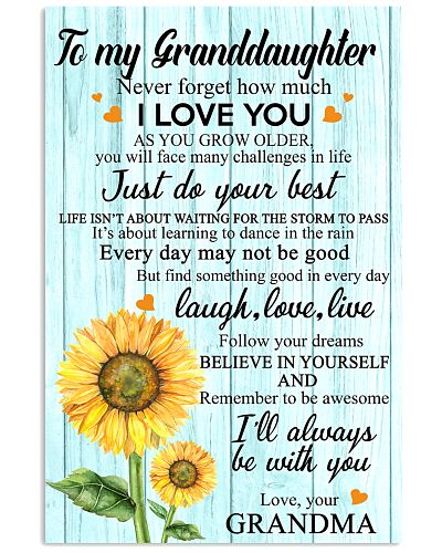 2 TO MY GRANDDAUGHTER I LOVE YOU POSTER