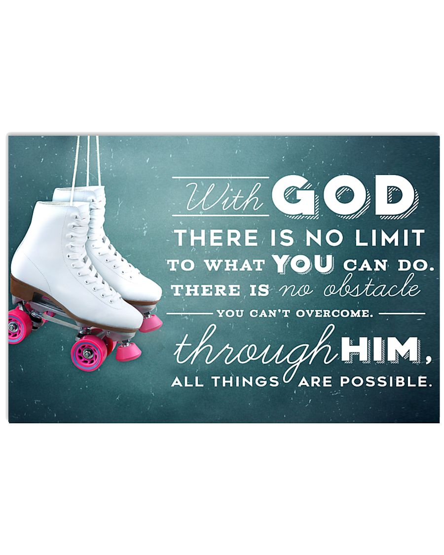 9- ROLLER SKATE WHITE - WITH GOD 17x11 Poster
