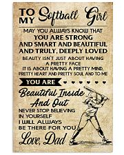 TO MY Softball Girl DAD 11x17 Poster front