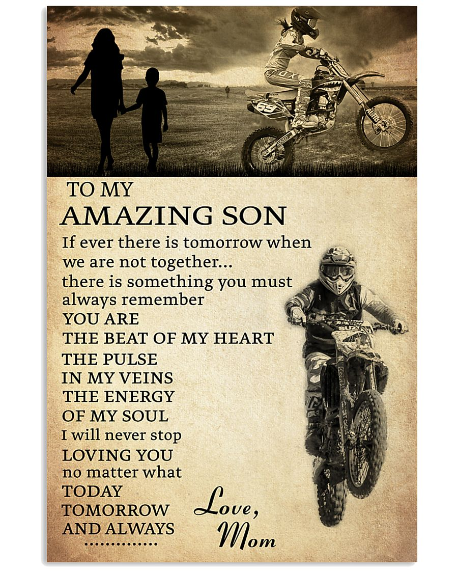 21 motocross- to my amazing son- mom 11x17 Poster