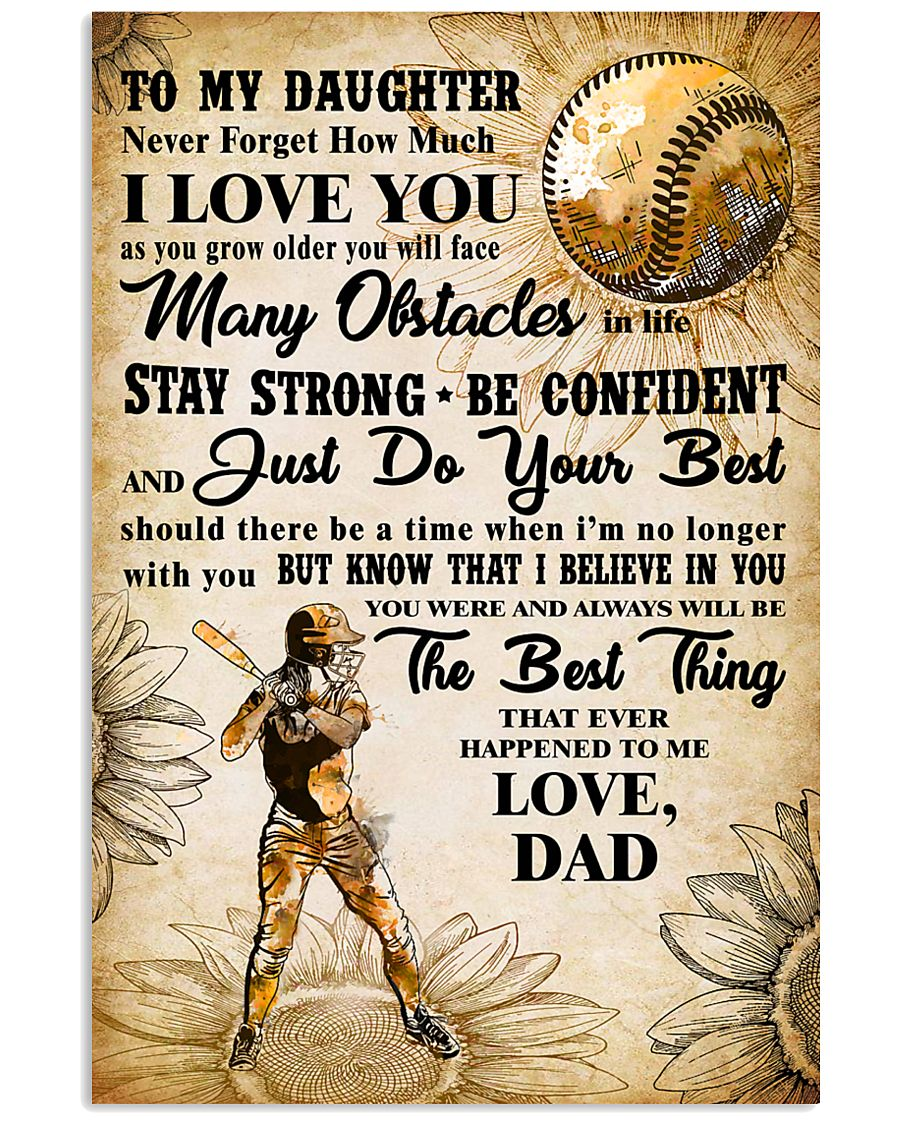 TO MY DAUGHTER - I LOVE YOU - Softball 11x17 Poster