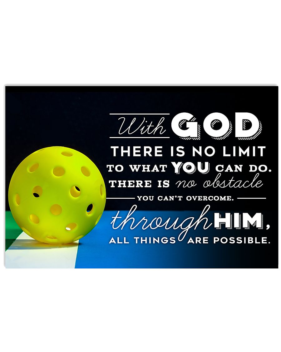 PICKLEBALL - WITH GOD 17x11 Poster
