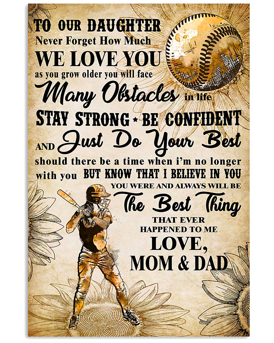 5 TO MY DAUGHTER - I LOVE YOU - Softball 11x17 Poster