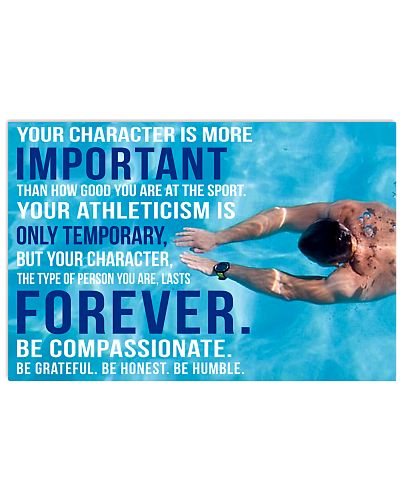 4 YOU CHARACTER IS MORE IMPORTANT SWIMMING POSTER