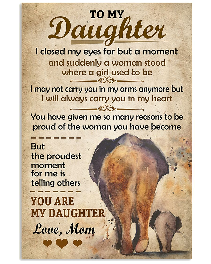 Elephant - To my Daughter Art Vintage Poster 11x17 Poster