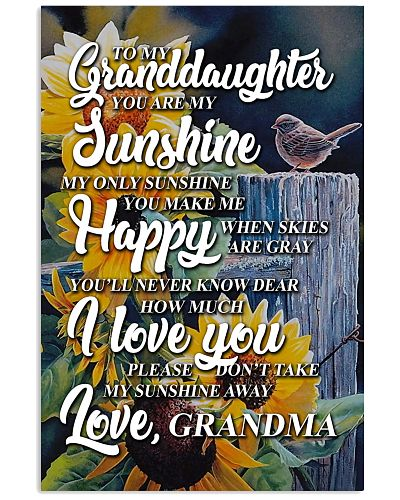 to my granddaughter you are my sunshine poster