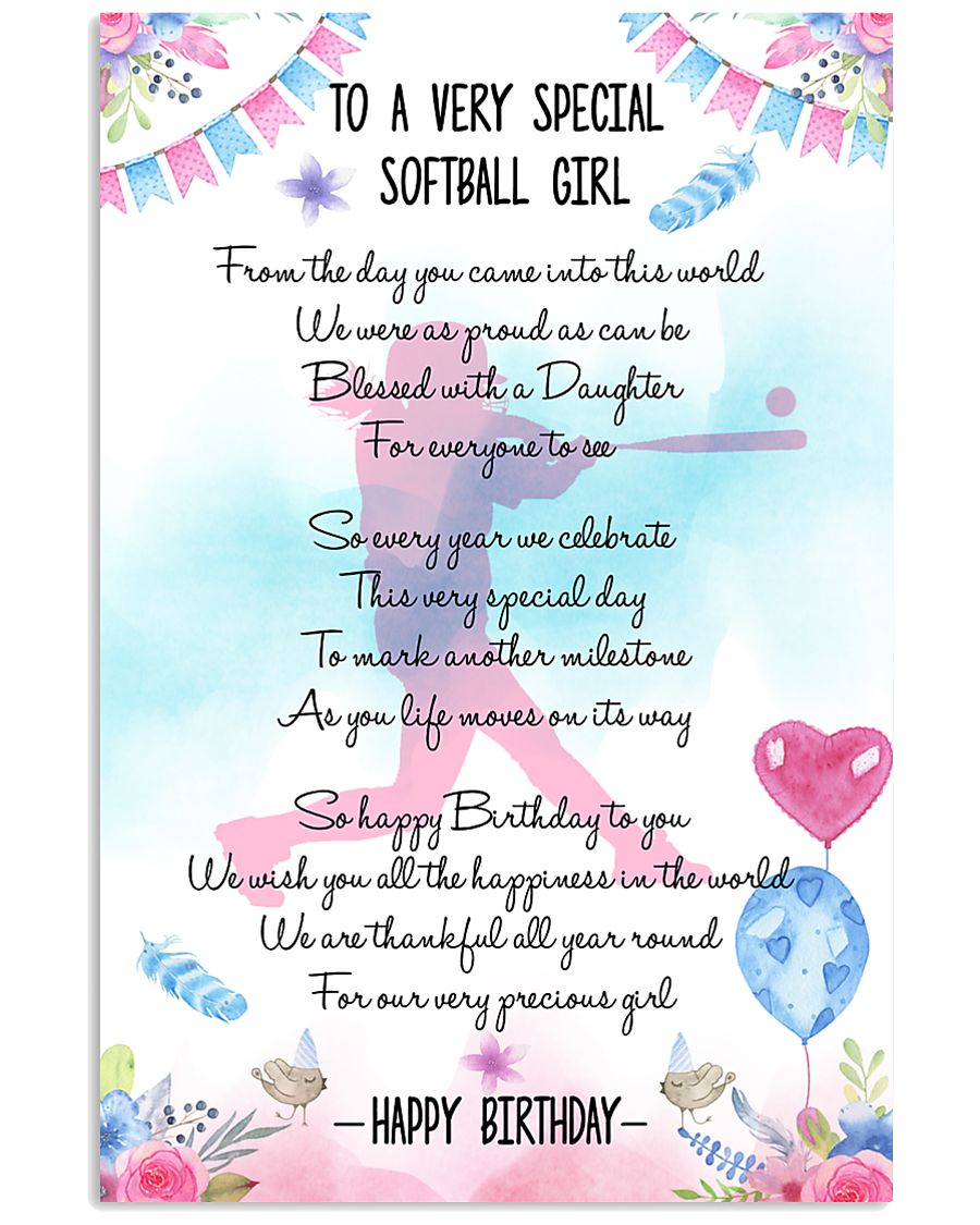 SOFTBALL GIRL - TO A VERY SPECIAL 11x17 Poster