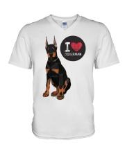 I LOVE DOBERMAN  V-Neck T-Shirt front