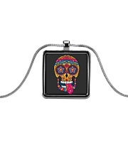 Sugar Skull Ear Necklace Metallic Rectangle Necklace front