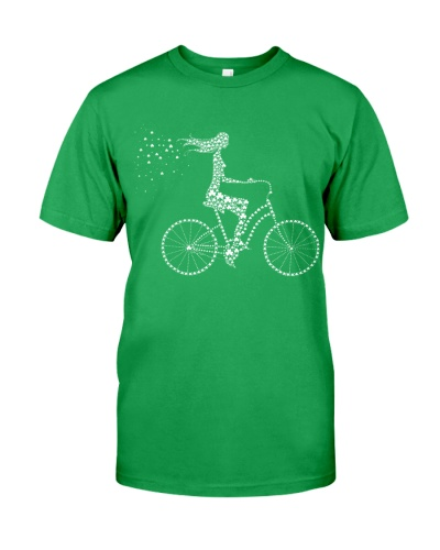 The Girl on a bicycle - Lucky clover Patrick's day