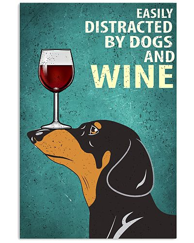 Dachshund Dog And Wine Vintage Poster