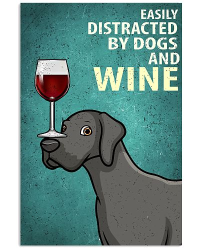 Great Dane Dog And Wine Vintage Poster
