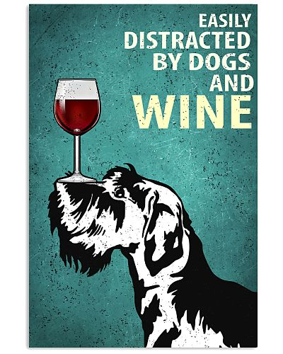 Schnauzer Dog And Wine Vintage Poster