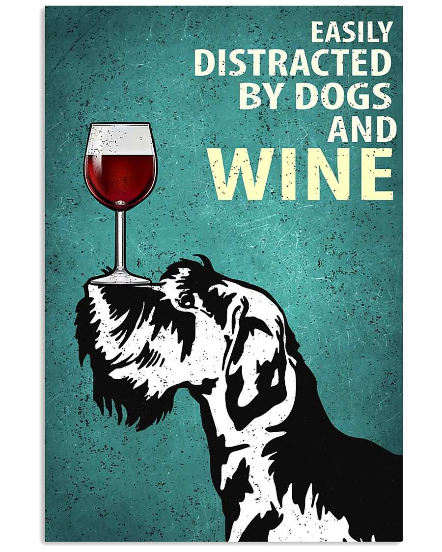 Schnauzer Dog And Wine Vintage Poster 11x17 Poster