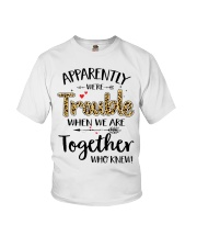 Left Trouble Wine Youth T-Shirt thumbnail