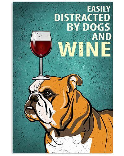 Bulldog Dog And Wine Vintage Poster