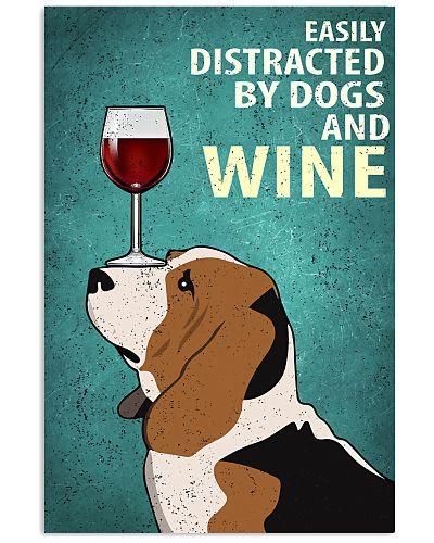 Basset Hound And Wine Vintage Poster