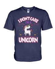 I DON'T CARE - I'M A UNICORN V-Neck T-Shirt thumbnail