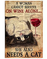 CAT PRETTY A WOMAN CANNOT SURVIVE ON WINE ALONE 11x17 Poster front
