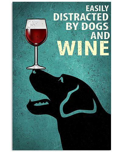 Black Labrador Dog And Wine Vintage Poster