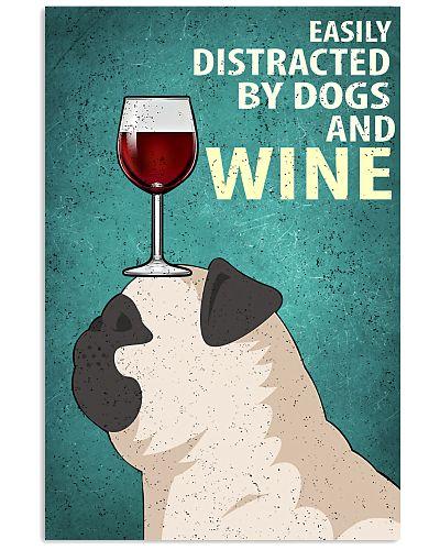 Pug Dog And Wine Vintage Poster