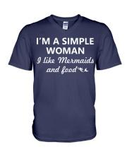 I Like Mermaid and Food V-Neck T-Shirt thumbnail