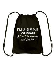 I Like Mermaid and Food Drawstring Bag thumbnail