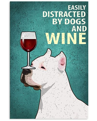 Pitbull Dog And Wine Vintage Poster
