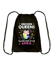 Unicorn Queens Are Born In April Drawstring Bag tile