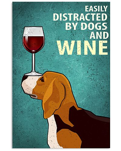 Beagle Dog And Wine Vintage Poster