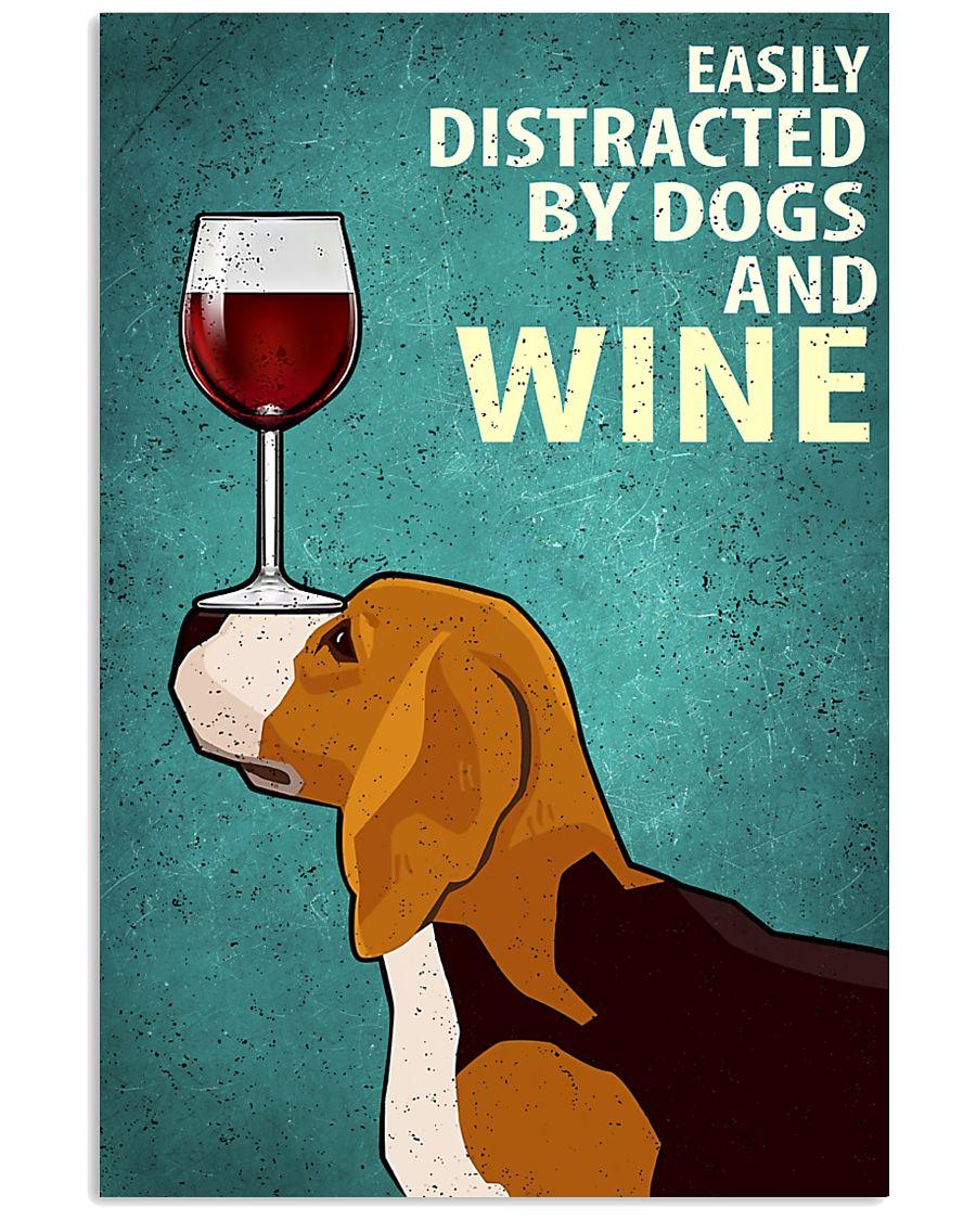 Beagle Dog And Wine Vintage Poster 11x17 Poster
