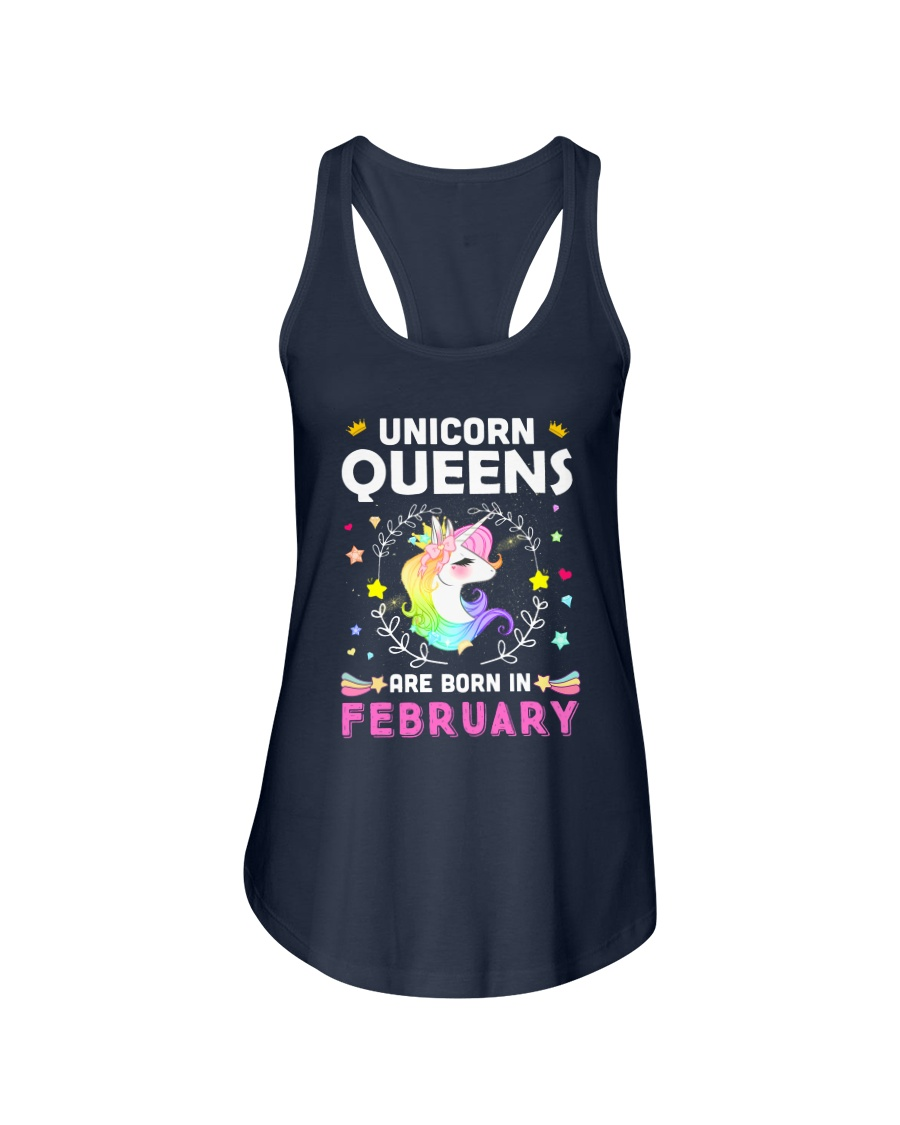 Unicorn Queens Are Born In February Ladies Flowy Tank