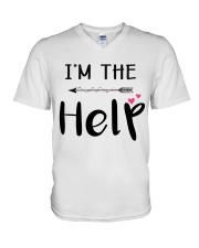 Wine I'm The Help V-Neck T-Shirt thumbnail